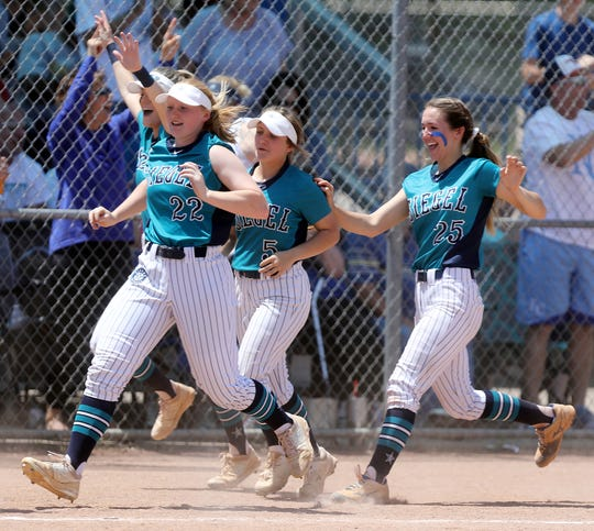 Siegel players rush to home plate to celebrate a home run during their 2019 TSSAA Class AAA softball tournament game at McKnight Park in Murfreesboro Wednesday, May 22, 2019.