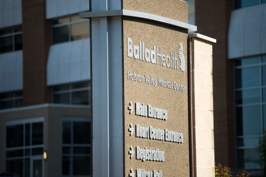 A Ballad Health sign is seen outside Holston Valley Medical Center in Kingsport, Tenn.