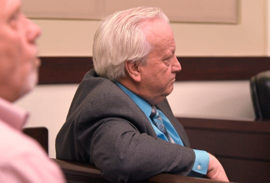 Minister Joey Spann, who was injured in the 2017 Antioch church shooting, listens to Emanuel Samson testify in his own defense in the trial Wednesday, May 22, 2019,  in Nashville, Tenn.