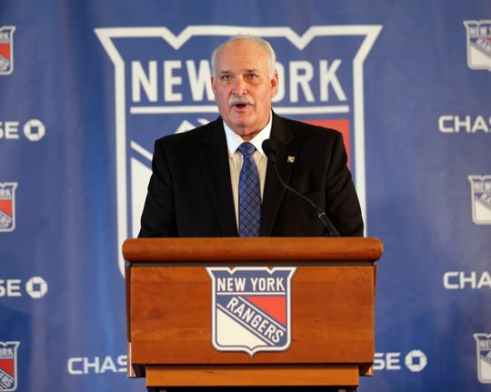 John Davidson, the new president of the New York Rangers, speaks during a news conference in New York, Wednesday, May 22, 2019. Davidson was hired as team president Friday hours after leaving his post with the Columbus Blue Jackets. He returns to New York where he spent parts of eight seasons as a Rangers goaltender and was a TV analyst for almost a decade.