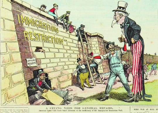 Political cartoon on immigration reform that appeared on the front page of a 1904 edition of the Saturday Globe of Utica, New York