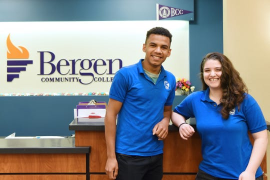 Cassie Arnout and Pedro Bandeira, students at North Arlington High School, also attended Bergen Community College and graduated from BCC on Thursday. Here they are shown on the BCC campus in Lyndhurst on Wednesday.