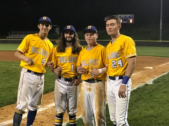 Butler seniors (from left) Damien Gnecco, John Cafasso, Sean Dunleavy and Derek Timpanaro after the Bulldogs defeated Hasbrouck Heights in their North 1, Group 1 baseball opener, 2-1, on May 20, 2019. Dunleavy hit the walk-off RBI double.