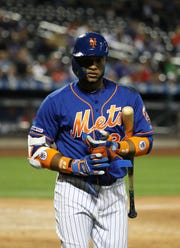 Robinson Cano of the New York Mets reacts after striking out against the Washington Nationals during their game at Citi Field on May 21, 2019 in New York City.
