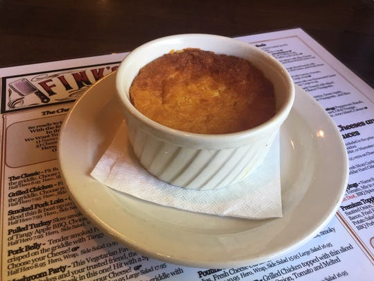 Corn souffle at Fink's BBQ Smokehouse in Dumont