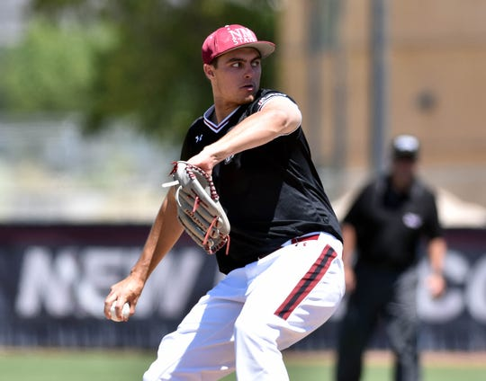 New Mexico State pitcher Justin Dehn is 9-3 on the mound for the Aggies this season entering the WAC Tournament.
