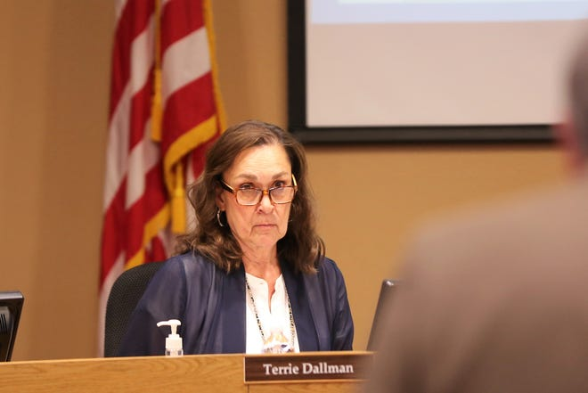 Las Cruces Board of Education member Terrie Dallman listens to a budget presentation at the school board's meeting on Tuesday, May 21, 2019.