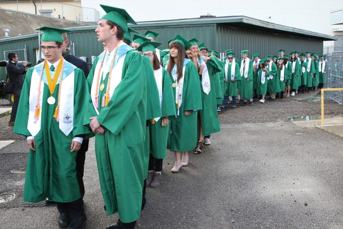 Members of the Farmington High School Class of 2019 wait their turn to walk onto the Hutchison Stadium field for their commencement ceremony on May 21.