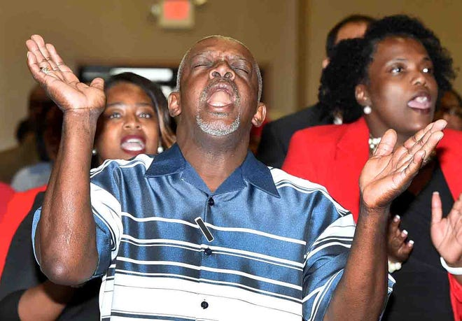 A joyful noise heard at the prayer vigil for the three burned St. Landry Parish churches. The event was held Tuesday at the Opelousas Civic Center and organized by Delta Sigma Theta Sorority.