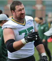 Green Bay Packers offensive tackle Bryan Bulaga (75) is shown during organized team activities Tuesday, May 21, 2019 in Green Bay, Wis.  MARK HOFFMAN/MILWAUKEE JOURNAL SENTINEL
