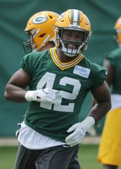 Green Bay Packers linebacker Oren Burks (42) is shown during organized team activities Tuesday, May 21, 2019 in Green Bay, Wis.  MARK HOFFMAN/MILWAUKEE JOURNAL SENTINEL