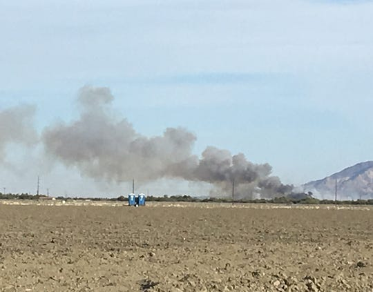 A vegetation fire erupted in Thermal on Tuesday, May 21, 2019. It is not far from where a 130-acre blaze was placed under control earlier in the day.