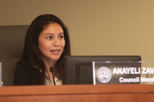 Anayeli Zavala announces her planned resignation from the Desert Hot Springs City Council, Desert Hot Springs, Calif., May 8, 2019. Councilmember Zavala will be resigning to begin law school.