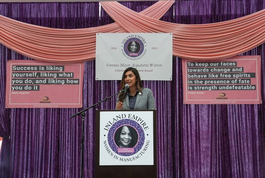 60th District Assemblywoman Sabrina Cervantes speaks in San Bernadino at the 2nd Annual Women in Manufacturing Summit, May 10, 2019.