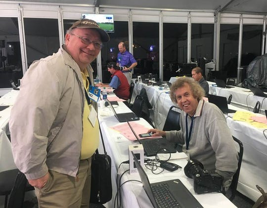 Bruce Fessier joined Larry Bohannan in filing bylines from the same event for the first time in their 32 years together at The Desert Sun at the PGA Tour's Desert Classic in January. Bruce was covering concerts at the event, while Larry covered the golf. Bruce was amazed the wifi worked better at the golf tournament than a rock concert.