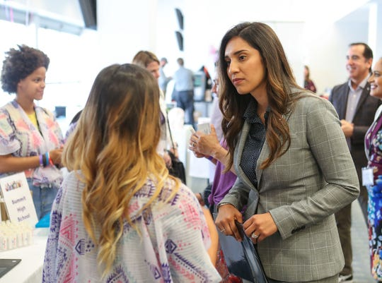 60th District Assemblywoman Sabrina Cervantes speaks with Summit High School students in during a conference in San Bernadino, May 10, 2019.