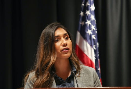 60th District Assemblywoman Sabrina Cervantes speaks at the Inland California Rising Summit in Riverside, May 10, 2019.