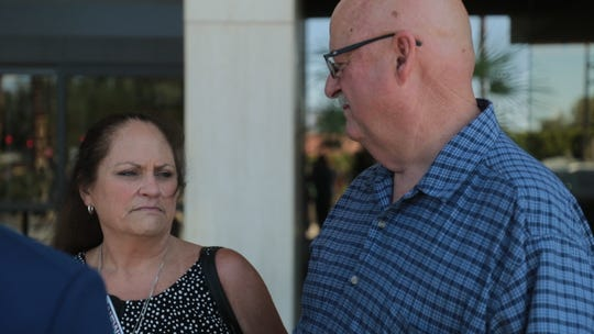 LuAnne and David Kling speak outside of the Larson Justice Center in Indio, Calif. on Monday, May 20, 2019. Their daughter, Palm Springs Police Officer Lesley Zerebny, was killed on Oct. 8, 2016.