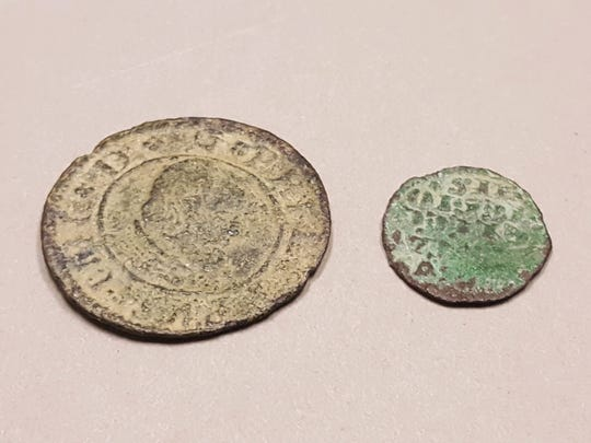The coin on the left is a 16 marevedis, minted between 1662 and 1664. The other is a dinero, dating to the reign of Alfonso X (1252-1284).