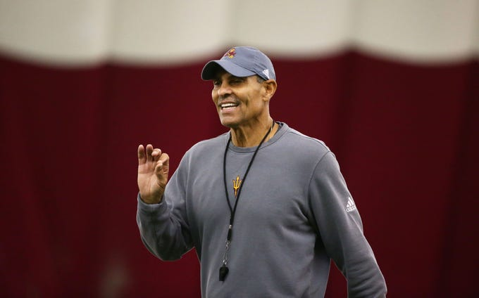 Arizona State Sun Devils head coach Herm Edwards during spring football practice on Feb. 6 in Tempe.