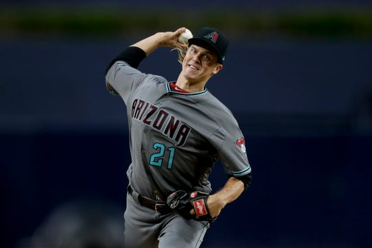Arizona Diamondbacks starting pitcher Zack Greinke works against a San Diego Padres batter during the first inning of a baseball game Tuesday, May 21, 2019, in San Diego. (AP Photo/Gregory Bull)