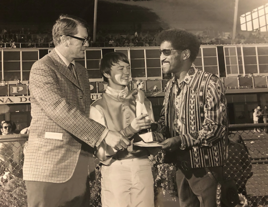 Sammy Davis Jr. visited Arizona Downs owner Jim Herbuveaux in the 1970s. Celebrities often stopped by the racetrack when in town. Arizona Downs closed in 1985 and reopens at the old Yavapai Downs in Prescott Valley on May 25, 2019.