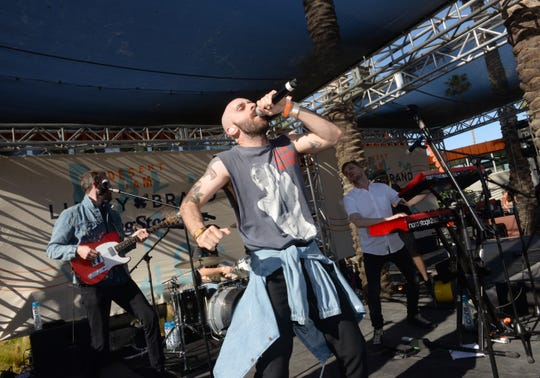 Sam Harris of X Ambassadors performs at Lucky Brand And Rolling Stone Live Present Desert Jam at ARRIVE Hotel on April 13, 2019 in Palm Springs, California.