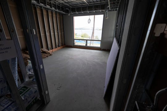 The master bedroom of a condo on the third floor of the Bluewater View condos in downtown Port Huron.