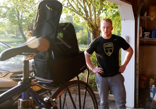 Ryan Wilson at his home in the Town of Poughkeepsie on May 20, 2019. Ryan has decided to ride this bicycle to Miami, Florida to raise money for ALS research in honor of his aunt Christie.