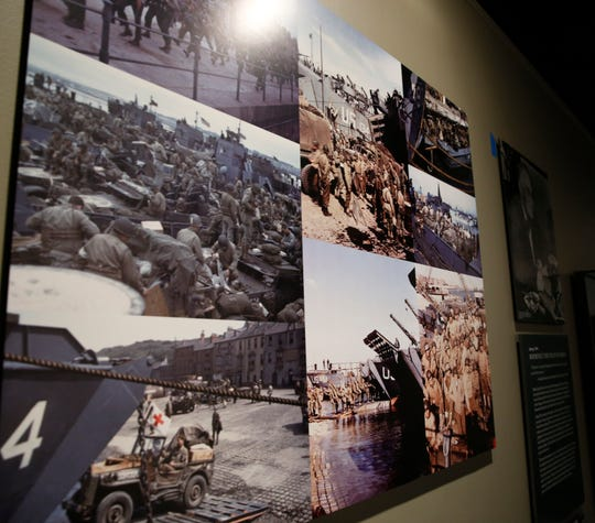 """Photo panels chronicling aspects of the D-Day battle on display for the upcoming exhibit  """"D-Day: FDR and Churchill's 'Mighty Endeavor'"""" at the FDR Library and Museum on May 21, 2019. The exhibit opens on May 25th."""