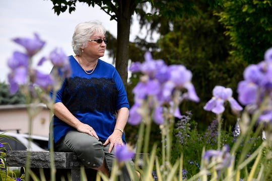 Gold Star mother Cher Kondor, who's son Martin was killed in action in Iraq in 2004, in the Veterans Memorial Gold Star Healing & Peace Garden which she was instrumental in creating. 