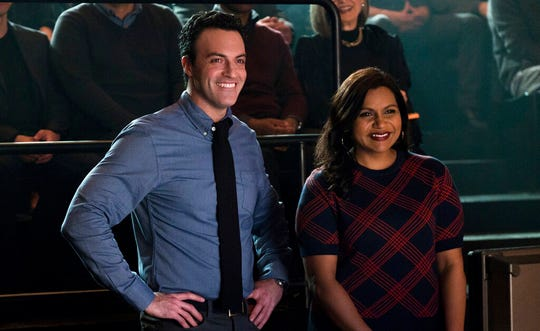 "Reid Scott, left, and Mindy Kaling in a scene from ""Late Night."""
