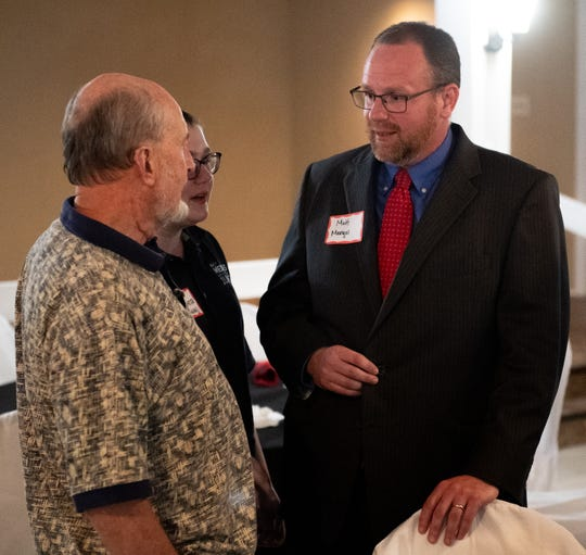 Matt Menges mingles with his supporters as he awaits the poll results on primary election night at a gathering of the Republican Party of York County, Tuesday, May 21, 2019 at Wisehaven. Menges won the party's nomination for judge in the York County Court of Common Pleas.