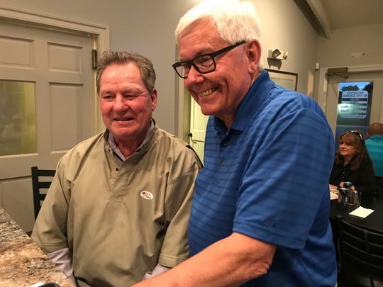 Steve Chronister (right) awaits election results with his brother-in-law Greg Bowers, who is York County controller and a co-owner of Grandview and BrewVino.