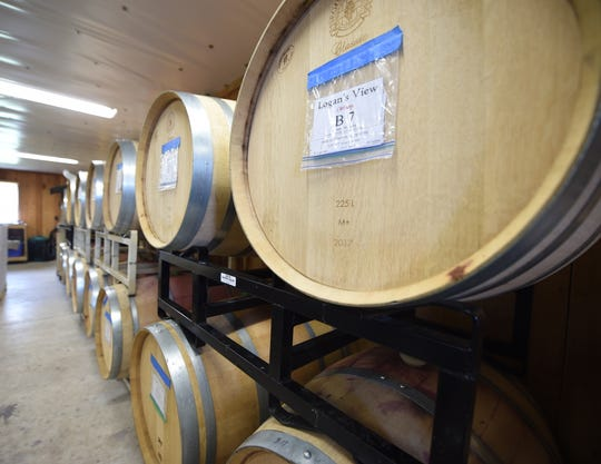 Inside the production facility at Logan's View Winery in Glen Rock. The red wines are aged in oak, each barrel yields approximately 200 to 300 bottles.