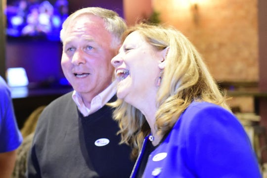York County Commissioner Doug Hoke and Judith Higgins react to primary night results at a gathering of the Democratic Party of York County Tuesday at Rockfish Public House. Both Higgins and Hoke won the party's nominations for the fall ballot for commissioners.