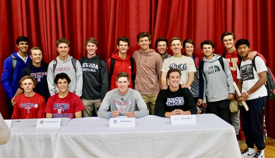 Reno High held a signing ceremony Wednesday for athletes continuing their careers in college