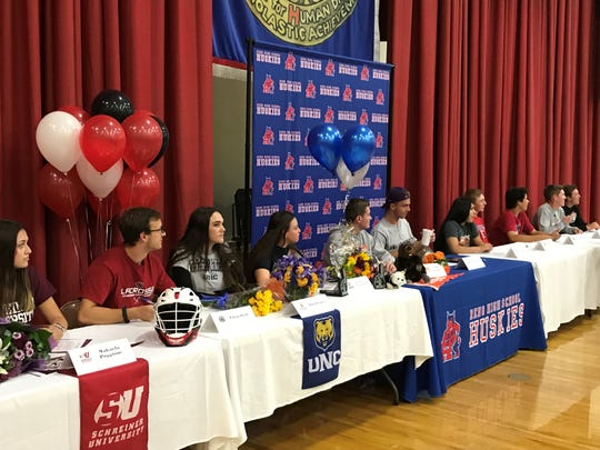 Reno High School had several students sign for college athletics in a ceremony at the school on Wednesday.
