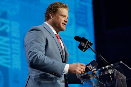 Former Bills center Eric Wood at the 2019 NFL Draft where he announced the Bills' second-round pick, offensive tackle Cody Ford.