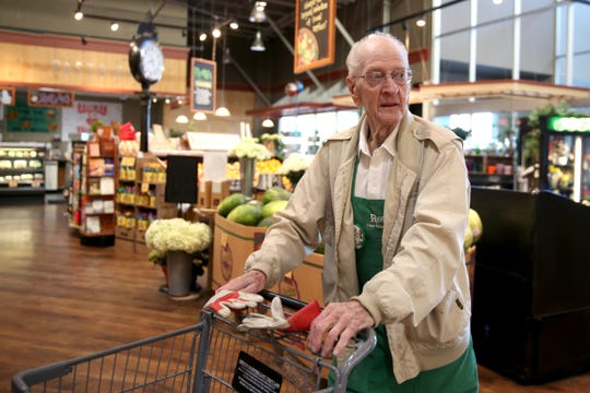 Robert Stone, 92, has worked for Roth's Fresh Markets for 25 years. Photographed at the Hayesville store in Salem on May 22, 2019.