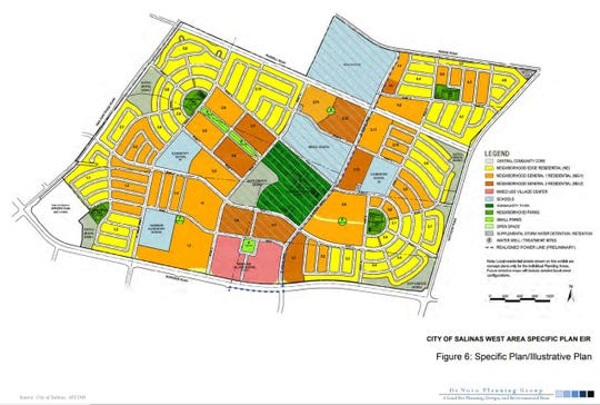 A detailed view of the West Area Specific Plan in northern Salinas.
