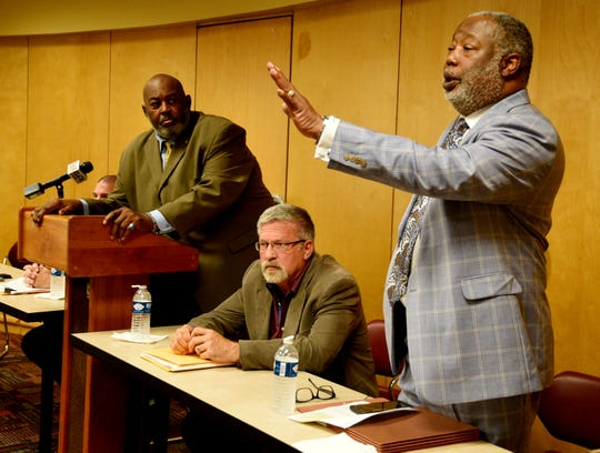 Caddo Parish District Attorney James E. Stewart Sr.  speaks during the community meeting on Tuesday, May 21, 2019 about the death of Anthony Childs at the Shreve Memorial Library Wallette Branch.