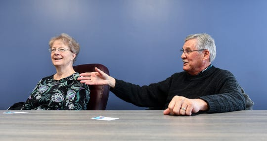 Sue Knauss and Roger Knauss talk about their experiences playing as bridge partners during an interview Wednesday, May 22, in St. Cloud.