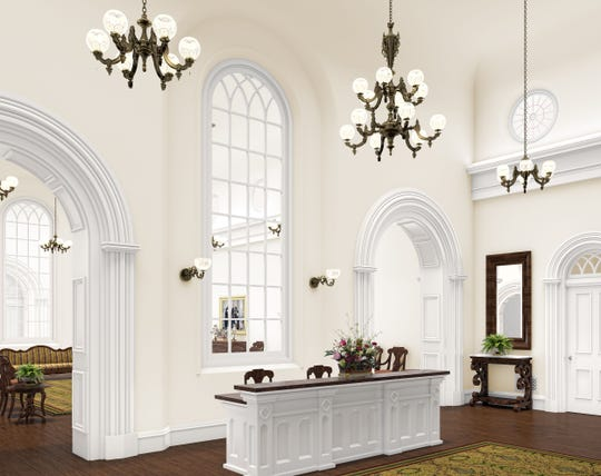 An artist rendering depicts the recommend desk in the St. George Temple following renovations, which are scheduled to be completed in 2022.