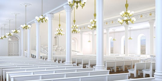 LDS Church authorities said columns and light fixtures will be restored and added to rooms throughout the temple, like the priesthood room seen in this rendering.
