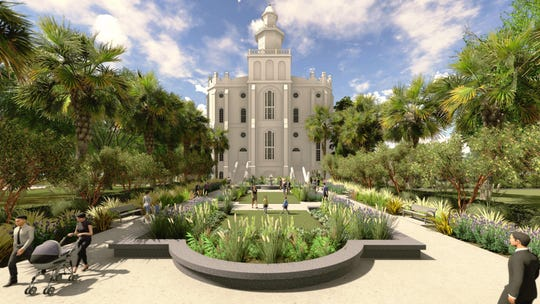 An artist's rendering depicts renovation plans for the East elevation plaza at the St. George Temple.