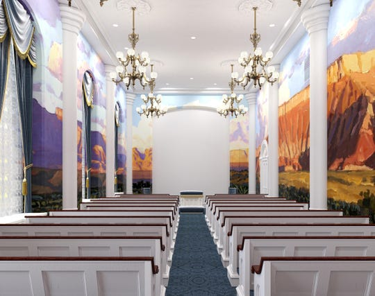 An artist's rendering depicts an instruction room in the St. George Temple after the renovation project. LDS Church officials said the mural will be similar to original murals in the building that were removed in previous renovation projects.
