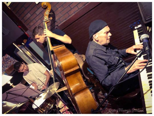 The Bob Dogan Jazz Quintet takes the stage Friday at the Blue Tavern with piano masterDavid Detweiler and Kai Hammond on tenor sax, Jose Serrano on the bass and Austin Crawford beating the drums.