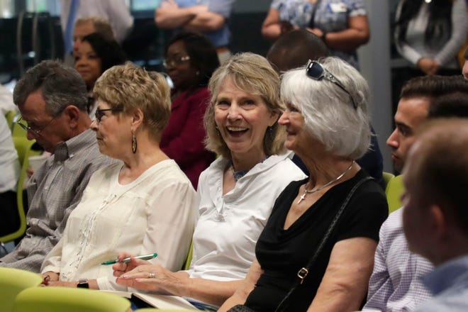 Commissioner Mary Ann Lindley attended one of three community conversations hosted by the Tallahassee Chamber of Commerce on Wednesday May 22, 2019, at the Tallahassee Community College Innovation Center. The event was inspired by the ChamberÕs trip to Greenville, South Carolina, in April, and allowed elected and business leaders to discuss ways to improve downtownÕs appeal.