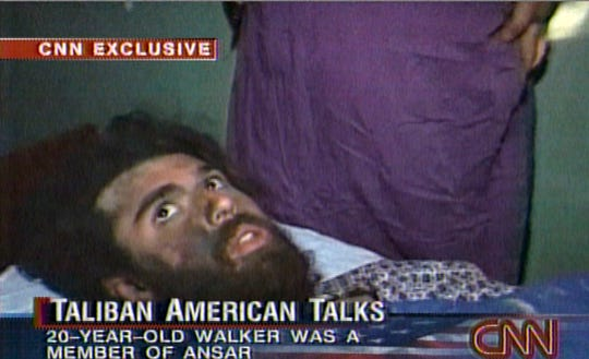 In this file image taken from video broadcast Dec. 19, 2001,  John Walker Lindh is seen during an interview soon after his capture. According to CNN, the interview took place Dec. 2, 2001.